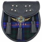 Premium - Black Leather - Armstrong Tartan Scottish KILT SPORRAN Chain Strap
