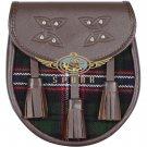 Premium - Brown Leather - Scottish National Tartan Scottish KILT SPORRAN Chain Strap