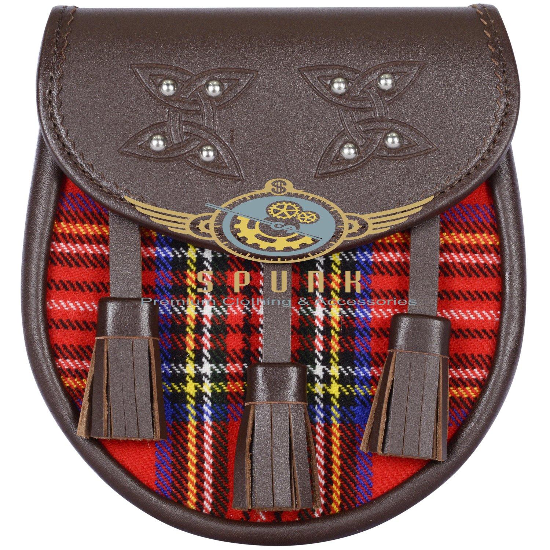 Premium - Brown Leather - Royal Stewart Tartan Scottish KILT SPORRAN Chain Strap