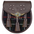 Premium - Brown Leather -  Mackenzie Tartan Scottish KILT SPORRAN Chain Strap