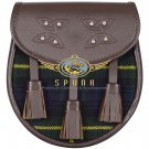 Premium - Brown Leather -   Gordon Tartan Scottish KILT SPORRAN Chain Strap