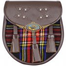 Premium - Brown Leather -   Black Stewart Tartan Scottish KILT SPORRAN Chain Strap