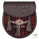 Premium - Brown Leather - MacDonald Tartan Scottish KILT SPORRAN Chain Strap