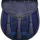 Premium - Black Leather Spirit of Scotland Tartan Scottish KILT SPORRAN Chain Strap