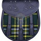 Premium - Black Leather ST-Patrick Tartan Scottish KILT SPORRAN Chain Strap