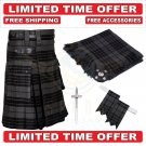 Scottish Grey Watch Tartan Utility Kilts For Men With Accessories - Size 40