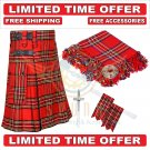 Scottish Royal Stewart Tartan Utility Kilt For Men With Free Accessories - Size 48