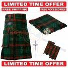 Scottish Ross Hunting Modern Tartan Utility Kilt For Men With Free Accessories