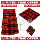 Scottish Wallace Tartan Utility Kilt For Men With Free Accessories - Size 52