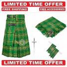 Scottish Irish Green Tartan Utility Kilt For Men With Free Accessories