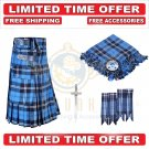 Scottish Ramsey Blue Hunting Tartan Utility Kilt For Men With Free Accessories - Size 36