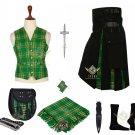 Men's Scottish Irish Hybrid Utility Kilt Black Cotton & Tartan Kilt set Bundle Offer