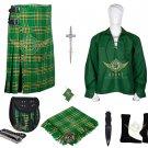 Men's Scottish Irish Green tartan 8 yard kilt Traditional 8 yard kilts With Accessories