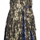 Scottish Men's Digital Camo Kilt Utility Hybrid Ramsey Blue Tartan Under Pleated kilt