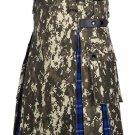 Scottish Men's Digital Camo Kilt Utility Hybrid Ramsey Blue Tartan Under Pleated kilt - Size 56