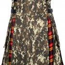 Scottish Men's Digital Camo Kilt Utility Hybrid Buchanan Tartan Under Pleated kilt