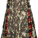 Scottish Men's Digital Camo Kilt Utility Hybrid Buchanan Tartan Under Pleated kilt - Size 42