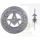 Celtic Masonic Fly Plaid Brooch Chrome Finish/Scottish Fly Plaid Brooch & kilt Pin
