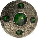 Scottish Antique Finish Celtic Green Stone Kilt Fly Plaid Brooch 5 Stone Kilt Plaid Brooch