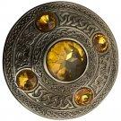 Scottish Antique Finish Celtic Yellow Stone Kilt Fly Plaid Brooch 5 Stone Kilt Plaid Brooch