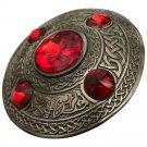 Scottish Antique Finish Celtic Red Stone Kilt Fly Plaid Brooch 5 Stone Kilt Plaid Brooch