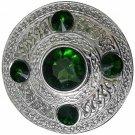 Scottish Chrome Finish Celtic Green Stone Kilt Fly Plaid Brooch 5 Stones Kilt Plaid Brooch