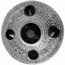 Scottish Chrome Finish Celtic Black Stone Kilt Fly Plaid Brooch 5 Stones Kilt Plaid Brooch