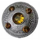 Scottish Chrome Finish Celtic Yellow Stone Kilt Fly Plaid Brooch 5 Stones Kilt Plaid Brooch
