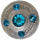 Scottish Chrome Finish Celtic Blue Stone Kilt Fly Plaid Brooch 5 Stones Kilt Plaid Brooch