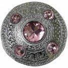 Scottish Chrome Finish Celtic Pink Stone Kilt Fly Plaid Brooch 5 Stones Kilt Plaid Brooch