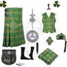 Men Scottish 8 Yard Kilt Package -10 Pcs - Irish Tartan - St. Patrick Day Parade - Size 34