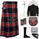 Men's Scottish Black Stewart 8 yard kilt Traditional Black Stewart Fabric kilt Deal