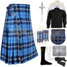 Men's Scottish Traditional Ramsey Blue Hunting Tartan Fabric 8 yard kilt Deal