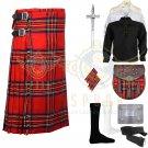 Scottish Royal Stewart 8 Yard kilt Traditional Royal Stewart Fabric 8 yard kilt Deal Set