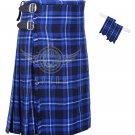 Men's Scottish Ramsey Blue 8 Yard KILT Ramsey Fabric 8 Yard KILT with Flashes