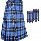 Men's Scottish Ramsey Blue Hunting 8 Yard KILT Ramsey Fabric 8 Yard KILT with Flashes