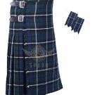 Men's Scottish Blue Douglas 8 Yard KILT Blue Douglas Fabric 8 Yard KILT with Flashes Waist 30