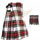 Men's Scottish Dress Stewart 8 Yard KILT Dress Stewart Fabric 8 Yard KILT with Flashes