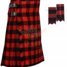 Scottish Macgregor Rob Roy 8 Yard KILT Red Black Check Fabric 8 Yard KILT with Flashes