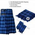 Scottish Ramsey Blue Utility Kilt Leather Straps kilt Free Fly Plaid - Brooch- Flashes