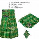 Men's Scottish Irish Utility Kilt Leather Straps kilt Free Fly Plaid - Brooch - Flashes