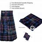 Scottish Pride of Scotland Utility Kilt Leather Strap kilt Free Fly Plaid - Brooch- Flashes