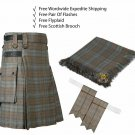 Scottish Black Watch Weathered Utility Kilt Leather Strap kilt Free Fly Plaid- Brooch