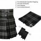 Scottish Grey Watch Utility Kilt Leather Straps kilt Free Fly Plaid - Brooch - Flashes