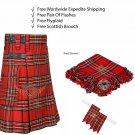 Scottish Royal Stewart Utility Kilt Leather Straps kilt Free Fly Plaid - Brooch- Flashes