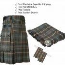 Mackenzie Weathered Utility Kilt Leather Straps kilt Free Fly Plaid - Brooch- Flashes