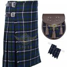 Scottish Blue Douglas 8 Yard KILT 13 Oz 8 yard Kilts Tartan Kilt Sporran & Flashes Waist 42