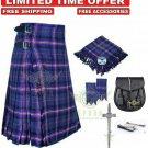 Men's Scottish Masonic 8 yard kilt Package with Pin Lock Black Leather sporran