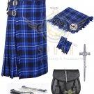 Men's Scottish Ramsey Blue 8 yard kilt Package with Pin Lock Black Leather sporran