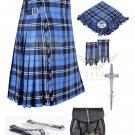 Men's Scottish Ramsey Blue Hunting 8 yard kilt Package with Pin Lock Black Leather sporran